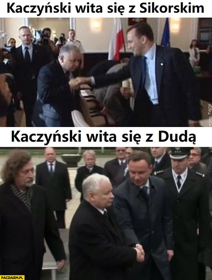 Kaczyński wita się z Sikorskim całuje rękę, z Dudą nawet na niego nie patrzy