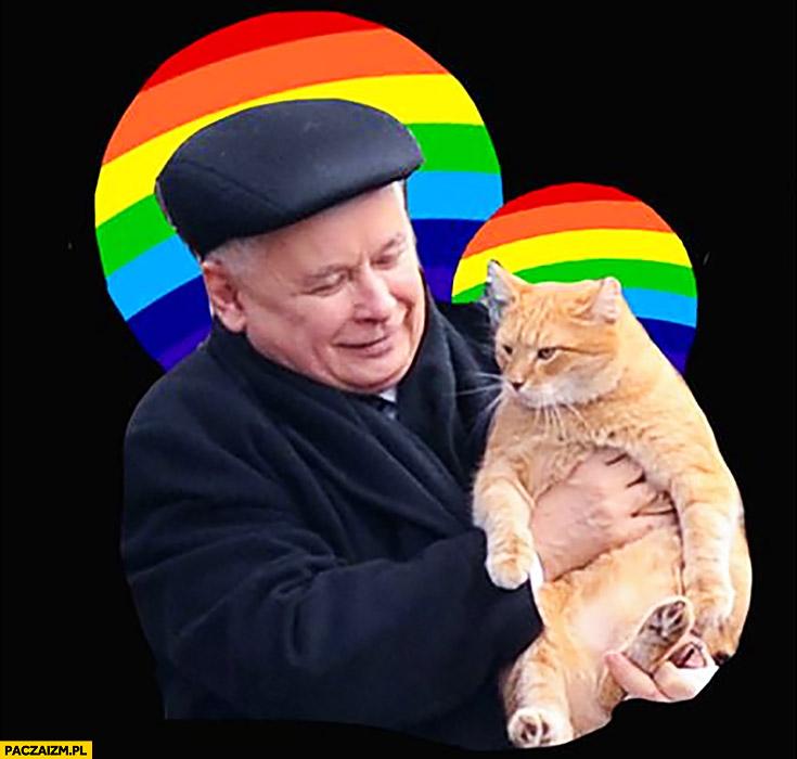 Kaczyński z kotem tęcza aureola przeróbka obrazu