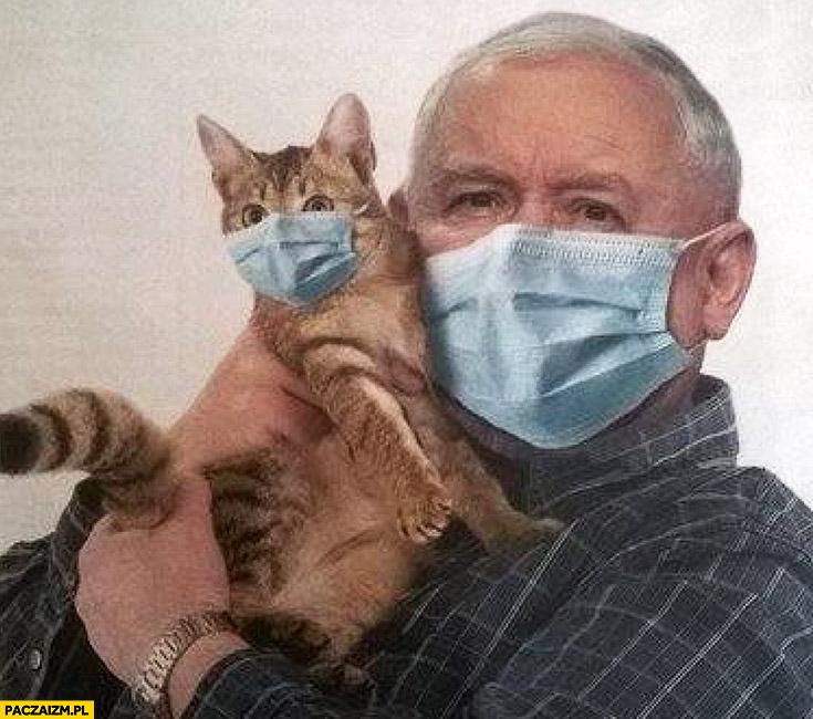 Kaczyński z kotem w maseczkach przeróbka