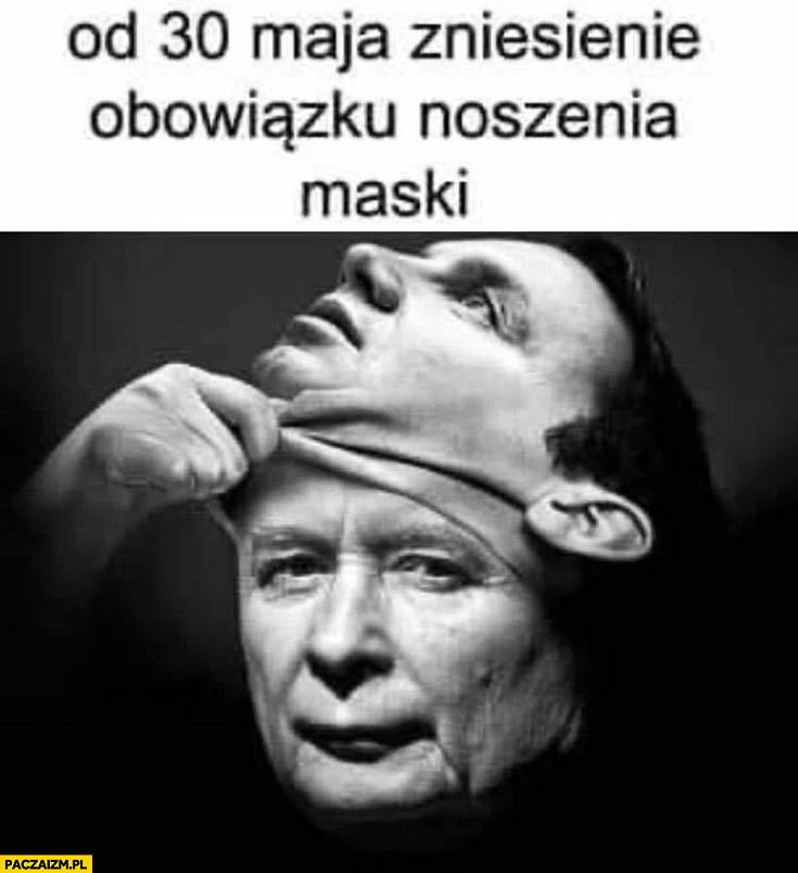 Kaczyński zdejmuje maskę Dudy od 30 maja zniesienie obowiązku noszenia maski