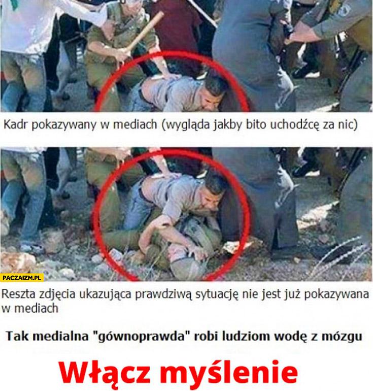 Kadr w mediach, reszta zdjęcia pokazująca sytuację uchodźca atakuje policjanta