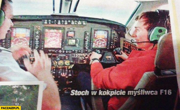 Kamil Stoch w kokpicie myśliwca F16 samolot pasażerski fail