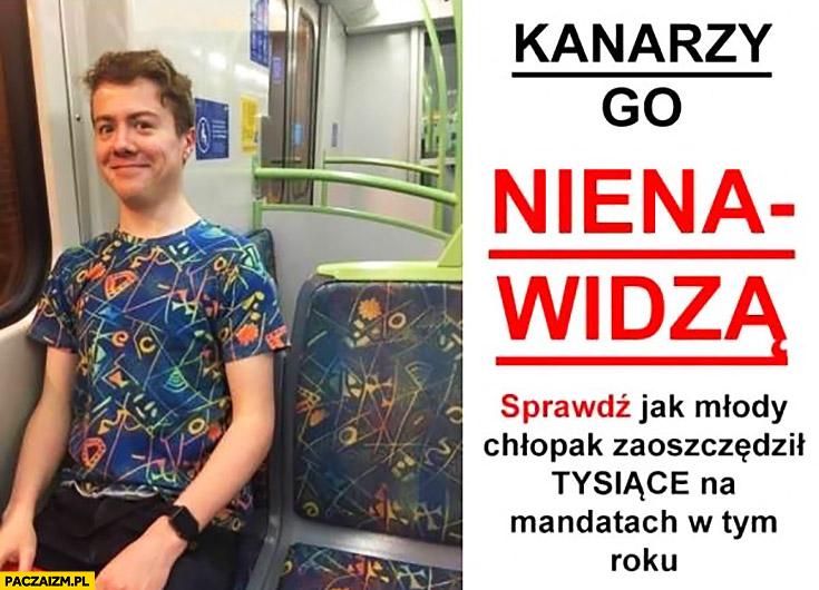 Kanarzy go nienawidzą, sprawdź jak zaoszczędził tysiące na mandatach koszulka we wzór siedzeń komunikacji miejskiej