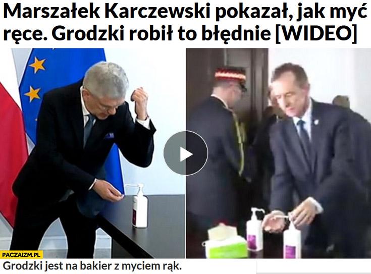 Karczewski pokazał jak myć ręce Grodzki robił to błędnie