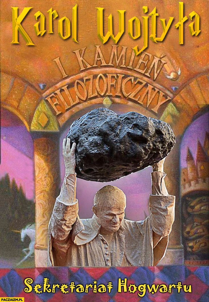 Karol Wojtyła i kamień filozoficzny papież z głazem przeróbka okładki