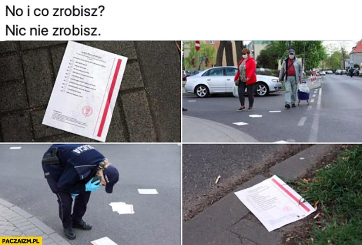 Karty do głosowania rozsypane na ulicy w mieście i co zrobisz nic nie zrobisz