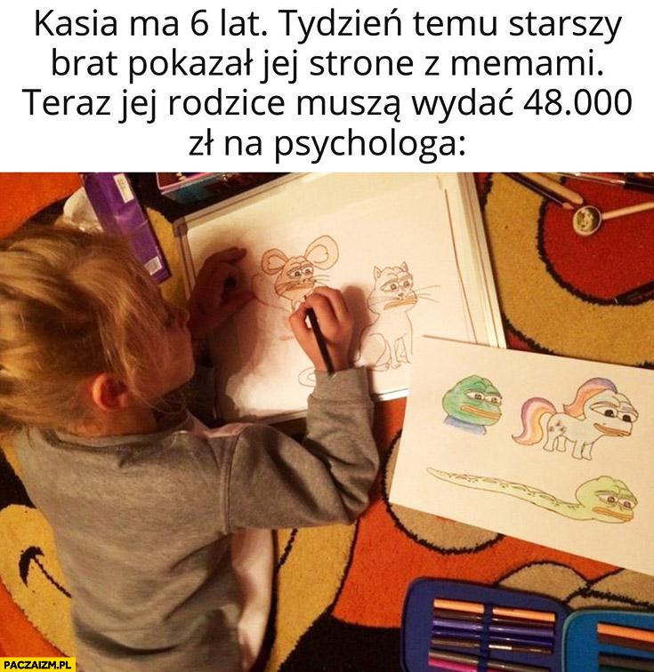Kasia ma 6 lat, tydzień temu starszy brat pokazał jej stronę z memami, teraz jej rodzice muszą wydać 48 tys zł na psychologa