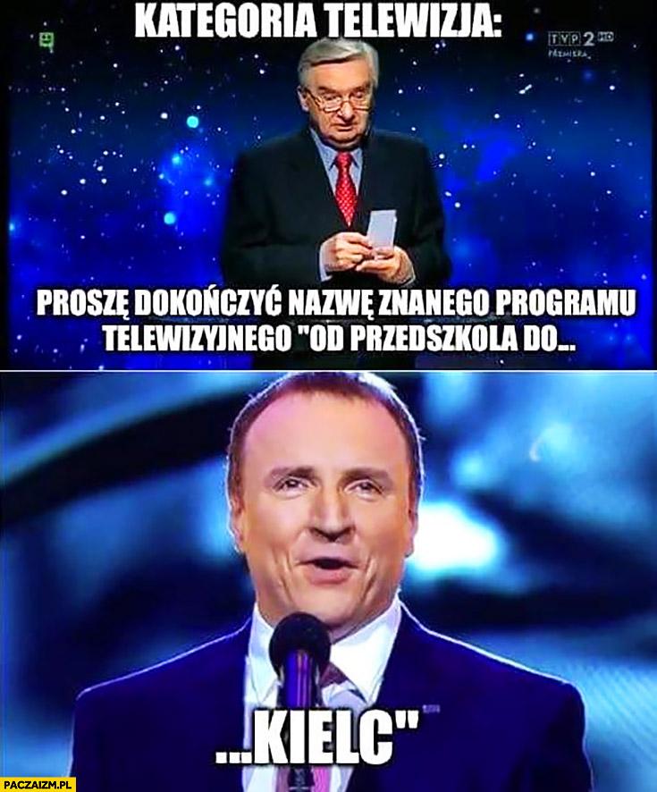 Kategoria telewizja: proszę dokończyć nazwę znanego programu telewizyjnego: od przedszkola do Kielc Jacek Kurski 1 z 10 Jeden z dziesięciu