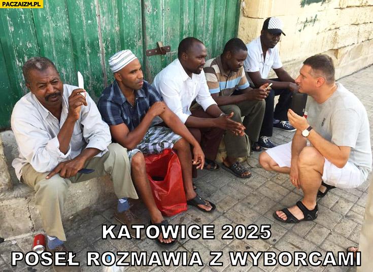 Katowice 2025 poseł rozmawia z czarnymi wyborcami Wipler