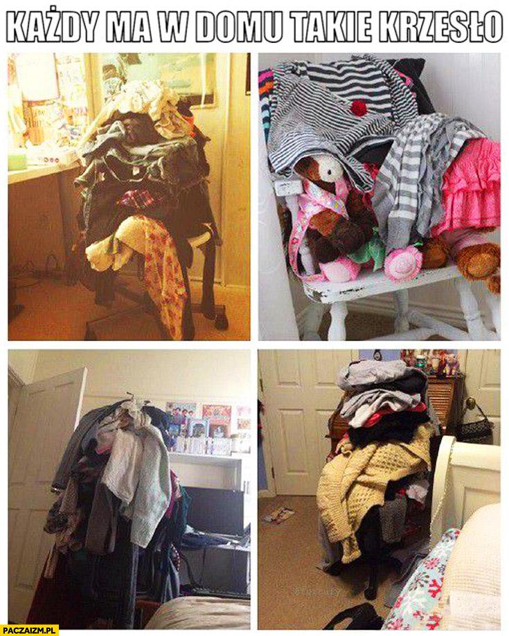 Każdy ma w domu takie krzesło sterta ubrań