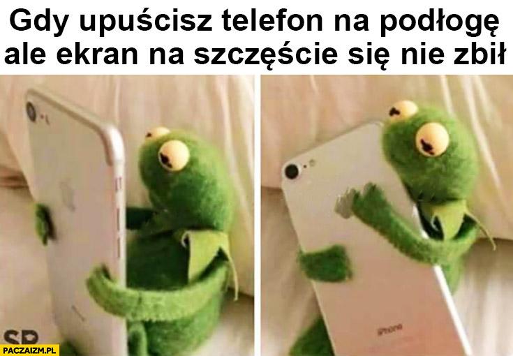 Kermit gdy upuścisz telefon na podłogę ale ekran na szczęście się nie zbił przytula ajfona