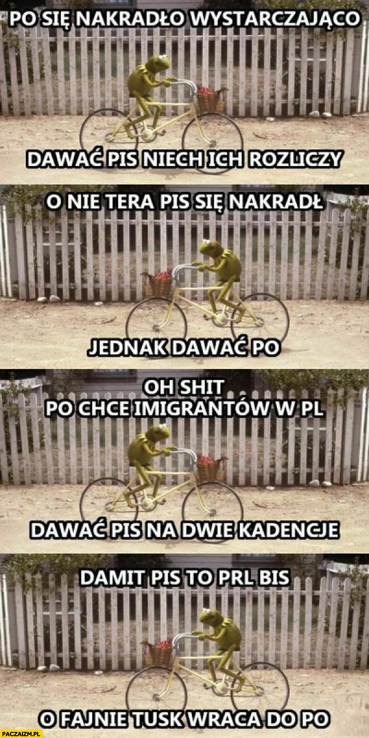 Kermit na rowerze PO nakradło wystarczająco, dawać PiS, o nie jednak dawać PO, chcą imigrantów dawać, PiS na dwie kadencje, PiS to PRL bis o fajnie Tusk wraca do PO