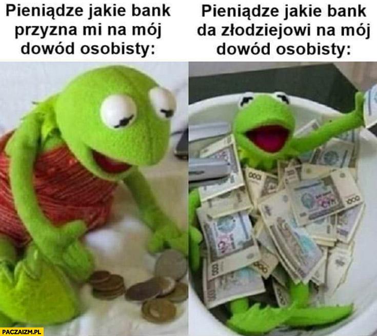 Kermit pieniądze jakie bank przyzna mi na mój dowód osobisty vs pieniądze jakie bank da złodziejowi na mój dowód osobisty