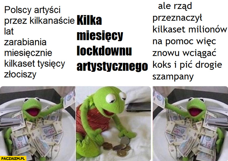 Kermit polscy artyści zarabiający kilkaset tysięcy kilka miesięcy lockdownu bieda ale rząd dał miliony żeby znowu wciągać koks i pić drogie szampany