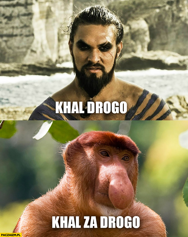 Khal Drogo, Khal za drogo. Typowy Polak nosacz małpa Gra o Tron