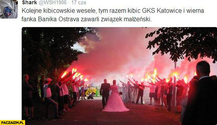 Kibicowskie wesele kibic GKS Katowice i wierna fanka Banika Ostrava zawarli związek małżeński
