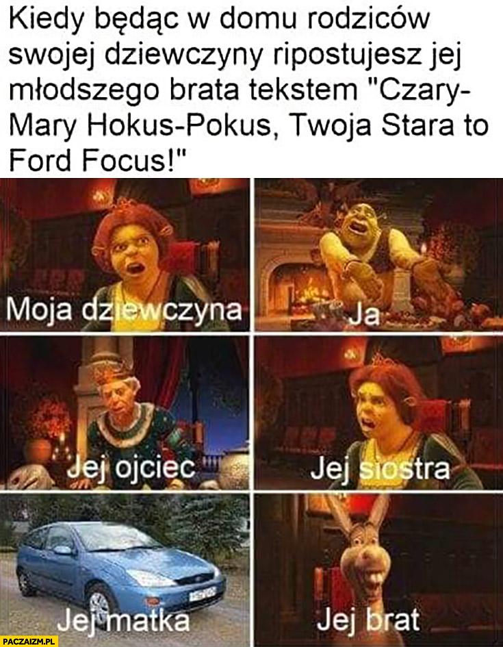 """Kiedy będąc w domu rodziców swojej dziewczyny ripostujesz jej młodszego brata tekstem """"czary mary hokus pokus Twoja stara to Ford Focus"""""""