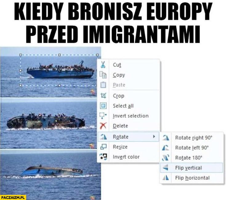 Kiedy bronisz Europy przed imigrantami photoshop łódź obróć w pionie uchodźcy toną
