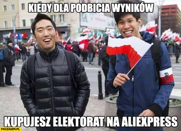 Kiedy dla podbicia wyników kupujesz elektorat na Aliexpress Chińczycy Azjaci na Marszu Niepodległości