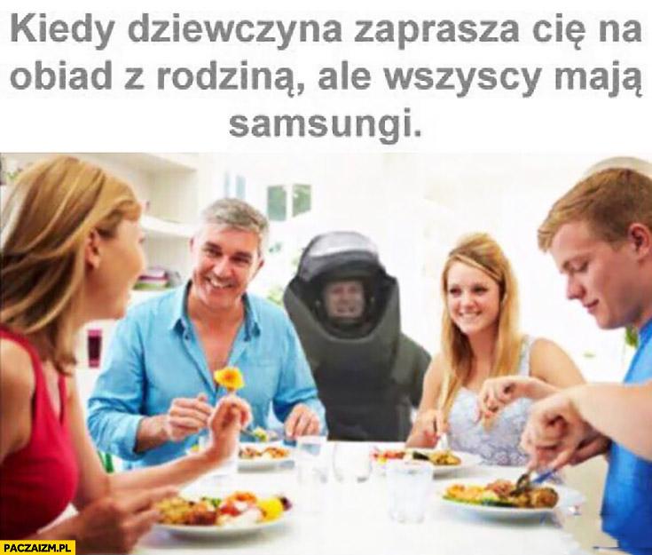 Kiedy dziewczyna zaprasza Cię na obiad z rodziną ale wszyscy mają Samsungi Galaxy Note 7 strój przeciwbombowy