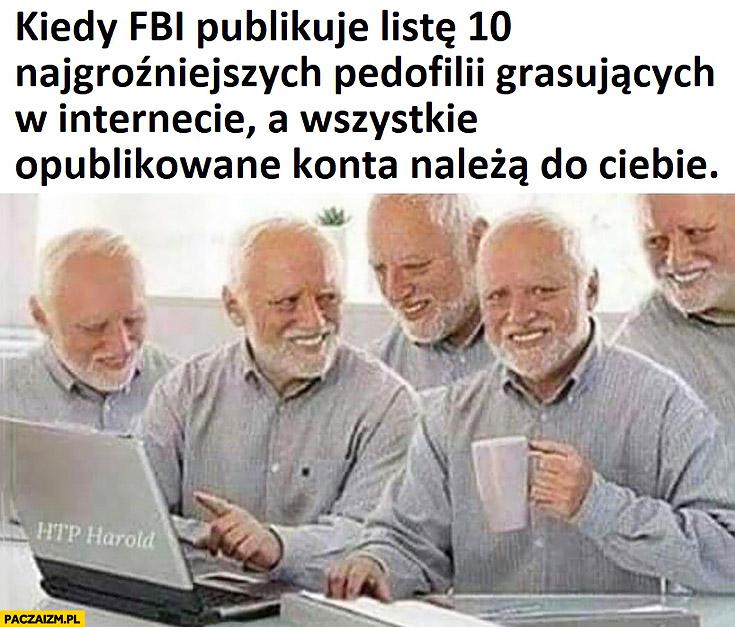 Kiedy FBI publikuje listę 10 najgroźniejszych pedofili grasujących w internecie, a wszystkie opublikowane konta należą do Ciebie dziwny pan ze stocku