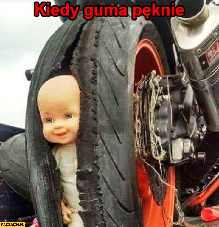 Kiedy guma pęknie dziecko koło motocykl