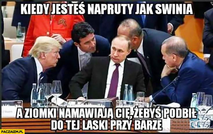 Kiedy jesteś napruty jak świnia a ziomki namawiają Cię żebyś podbił do tej laski przy barze Putin
