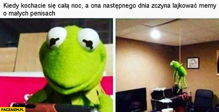 Kiedy kochacie się całą noc a ona następnego dnia zaczyna lajkować memy o małych penisach Kermit
