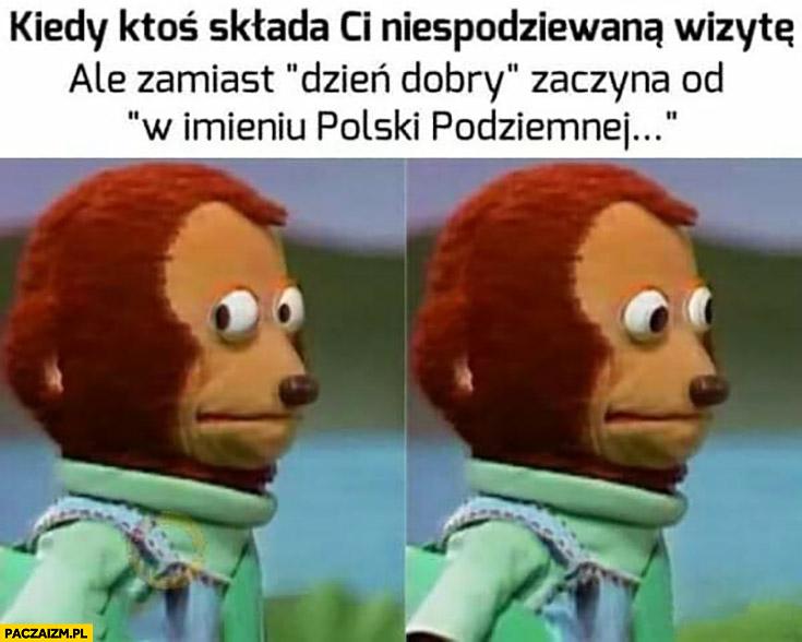 Kiedy ktoś składa Ci niespodziewaną wizytę ale zamiast dzień dobry zaczyna od w imieniu Polski podziemnej