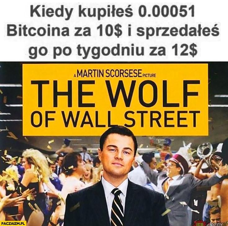 Kiedy kupiłeś 0.00051 bitcoina z 10 dolarów i sprzedałeś go po tygodniu za 12 dolarów Wilk z Wall Street