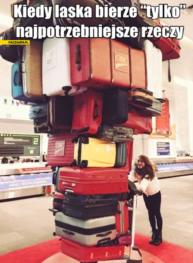 Kiedy laska bierze tylko najpotrzebniejsze rzeczy sterta stos walizek