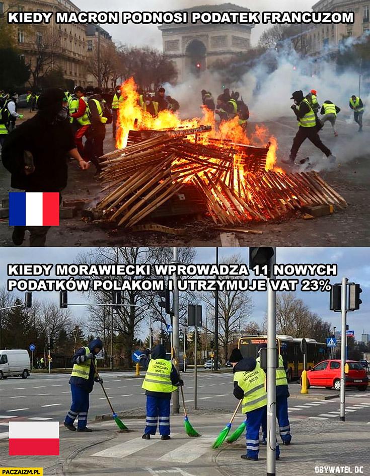 Kiedy Macron podnosi podatek Francuzom zamieszki, kiedy Morawiecki wprowadza 11 nowych podatków Polakom i utrzymuje VAT nic się nie dzieje