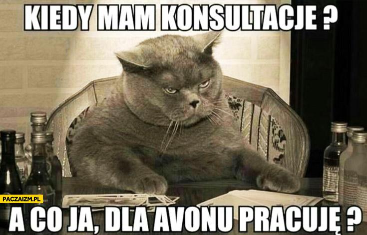 Kiedy mam konsultacje? A co ja dla Avonu pracuję? kot