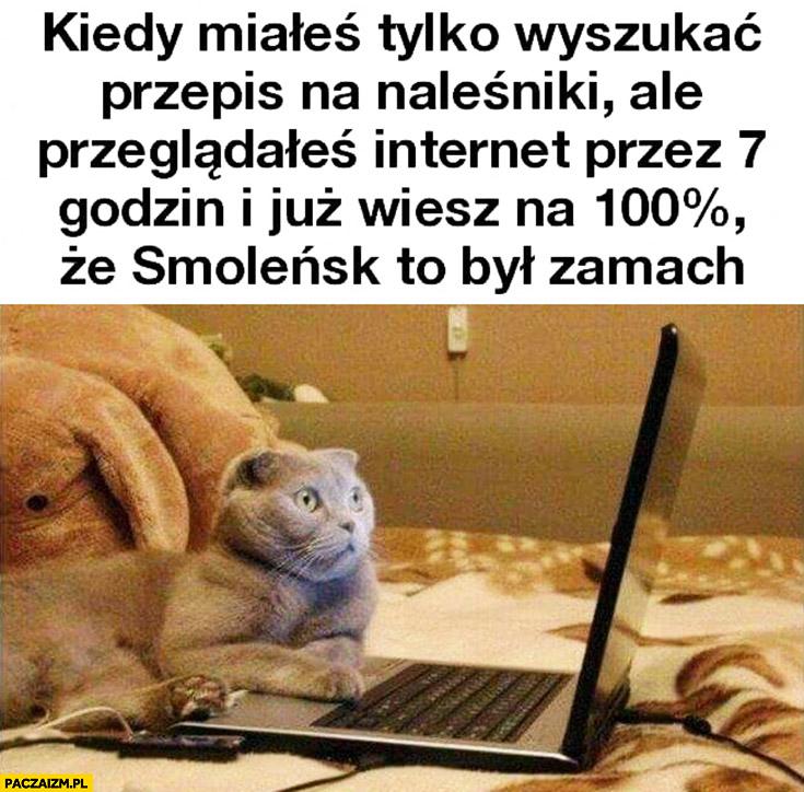 Kiedy miałeś tylko wyszukać przepis na naleśniki ale przeglądałeś internet przez 7 godzin i już wiesz na 100% procent, że Smoleńsk to był zamach przerażony kot