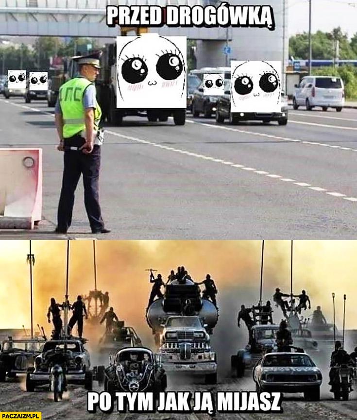 Kiedy mijasz policjanta kontrolę drogową vs kiedy już ja miniesz drogówka Mad Max