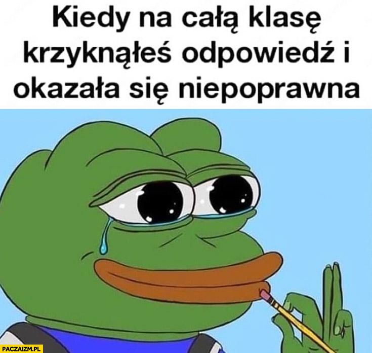 Kiedy na całą klasę krzyknąłeś odpowiedz i okazała się niepoprawna żaba Pepe