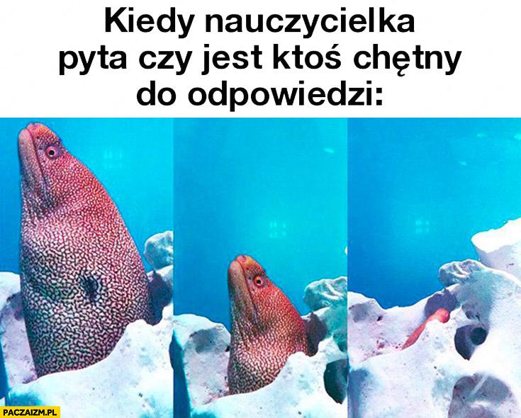 Kiedy nauczycielka pyta czy jest ktoś chętny do odpowiedzi ryba chowa się
