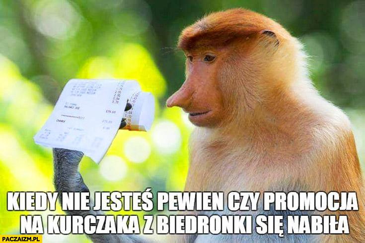 Kiedy nie jesteś pewien czy promocja na kurczaka z Biedronki się nabiła typowy Polak nosacz małpa