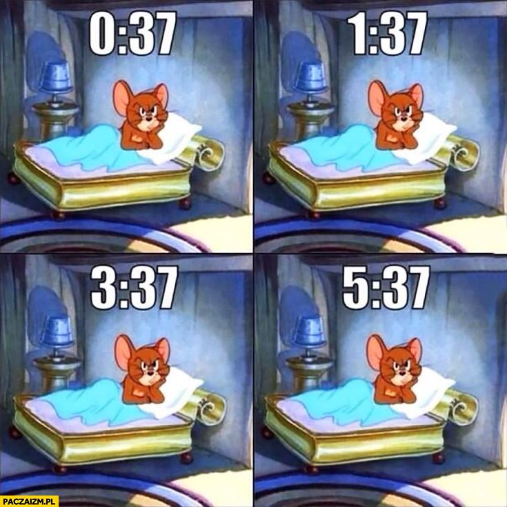 Kiedy nie możesz spać wkurzona mysz Tom i Jerry