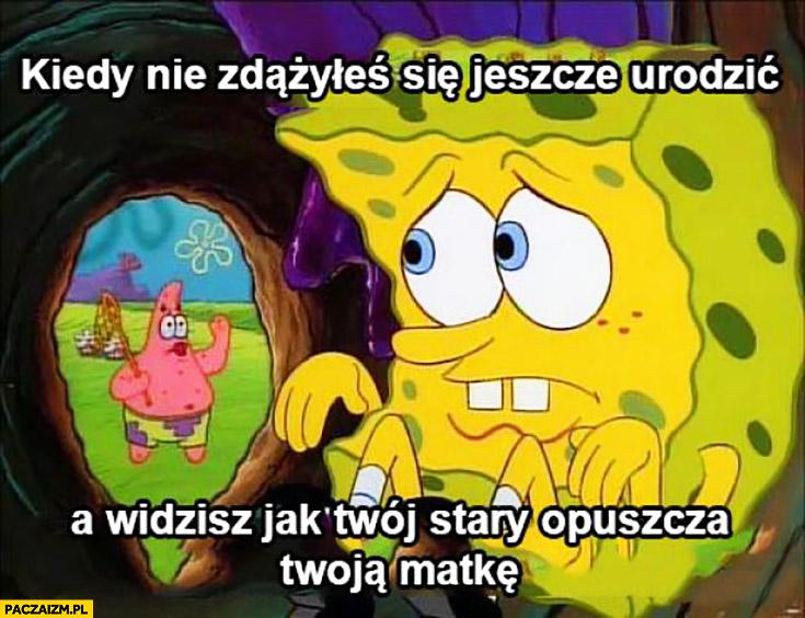 Kiedy nie zdążyłeś się jeszcze urodzić a widzisz jak Twój stary opuszcza Twoją matkę Spongebob