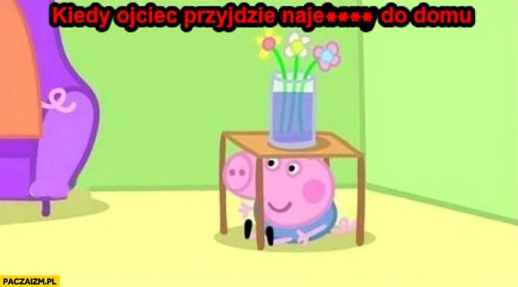 Kiedy ojciec przyjdzie do domu nawalony świnka Pepa chowa się pod stołem