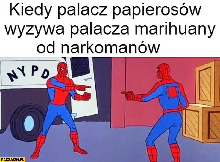 Kiedy palacz papierosów wyzywa palacza marihuany od narkomanów Spiderman wskazuje na Spidermana