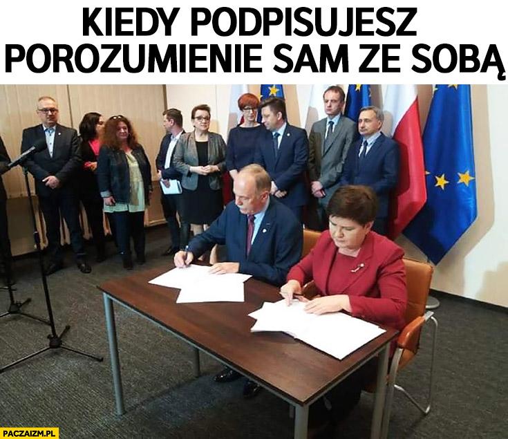 Kiedy podpisujesz porozumienie sam ze sobą Beata Szydło strajk nauczycieli