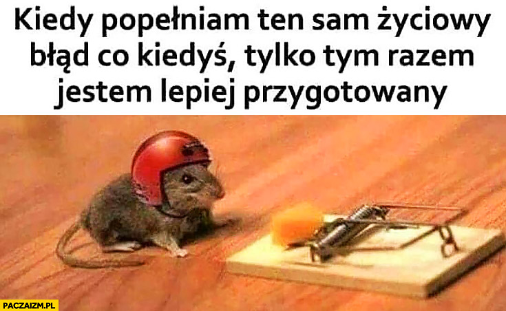Kiedy popełniam ten sam życiowy błąd co kiedyś tylko tym razem lepiej przygotowany mysz kask pułapka na myszy