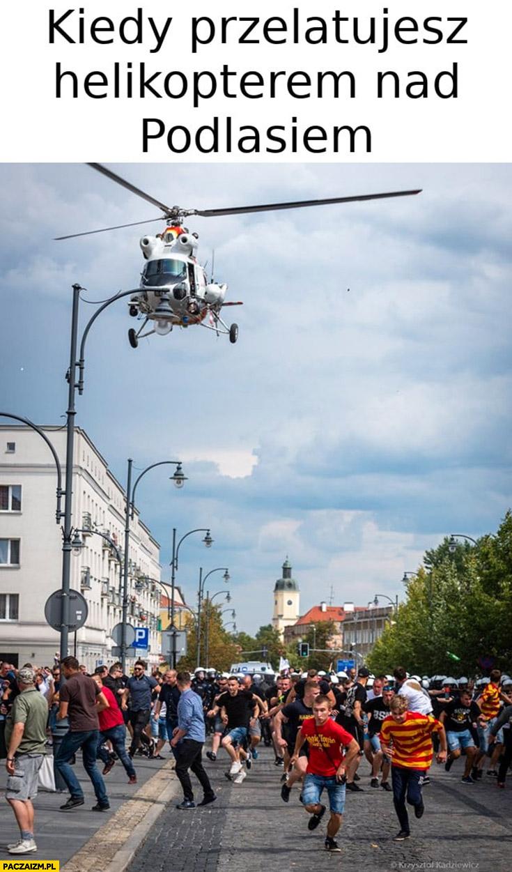 Kiedy przelatujesz helikopterem nad Podlasiem ludzie uciekają w popłochu