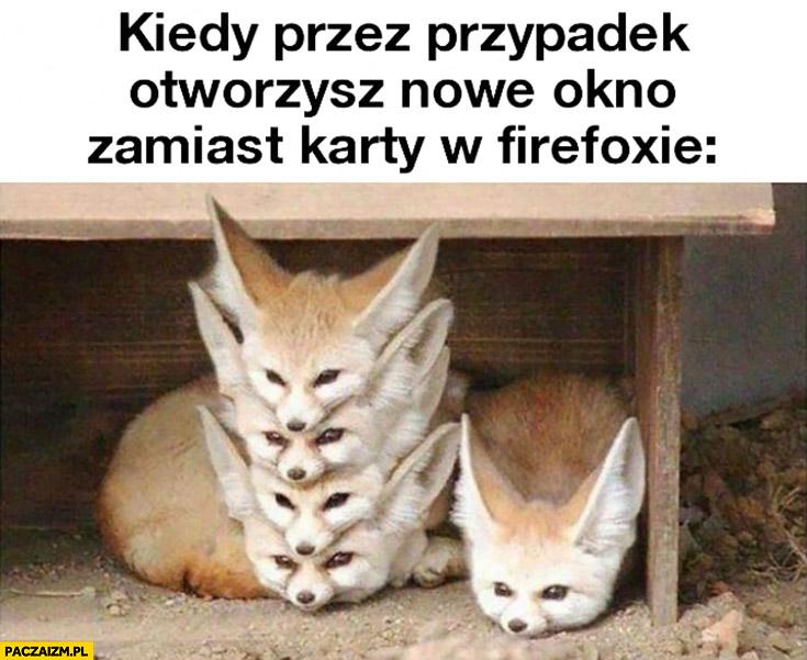 Kiedy przez przypadek otworzysz nowe okno zamiast karty w Firefoxie lisy