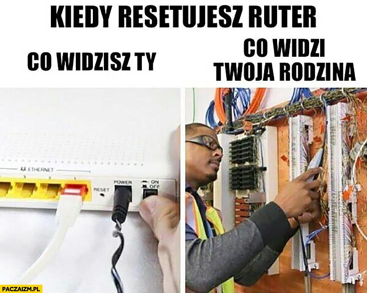 Kiedy resetujesz router co widzisz Ty vs co widzi Twoja rodzina