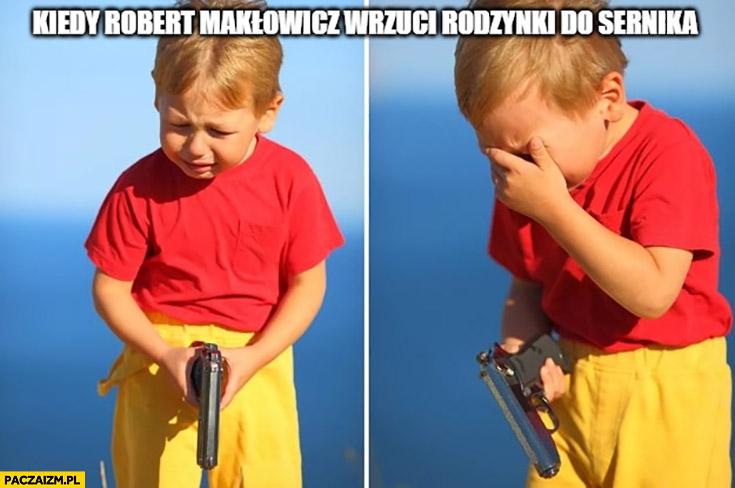 Kiedy Robert Makłowicz wrzuci rodzynki do sernika chłopiec z pistoletem płacze