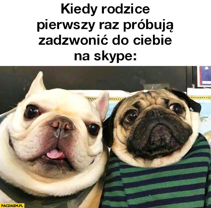 Kiedy rodzice pierwszy raz próbują zadzwonić do Ciebie na Skype psy