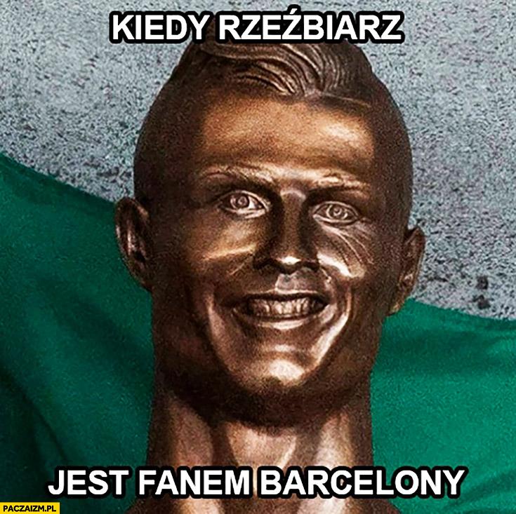 Kiedy rzeźbiarz jest fanem Barcelony – Cristiano Ronaldo rzeźba popiersie twarz fail